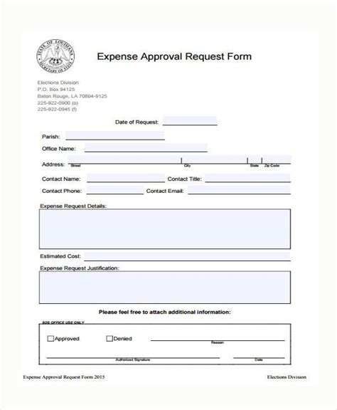 Sle Expense Approval Forms 10 Free Documents In Word Pdf Expense Request Form Template
