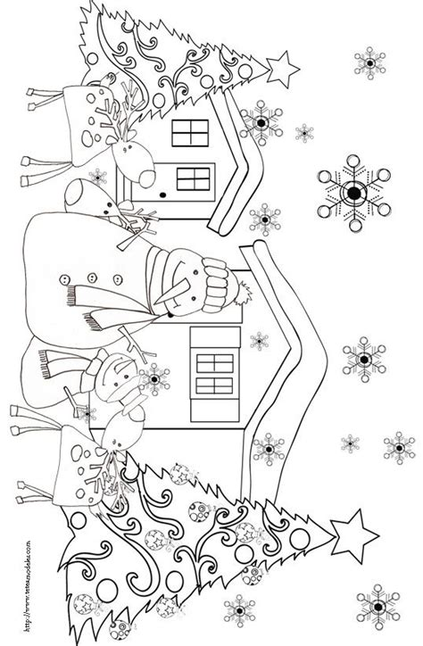 christmas tree and snowman coloring pages coloriages des rennes de no 235 l snowman christmas trees