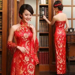 Average Cost Of Wedding Dress Luxury Women Lace Silk Slim Chinese Dresses Long Cheongsam Dress Improved Red Halter Neckline