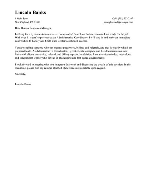 cover letter for administrative coordinator best social services administrative coordinator cover