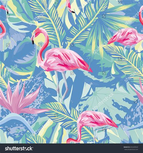 pink jungle wallpaper exotic composition tropical birds pink flamingo stock