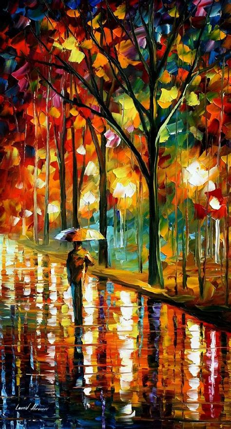 painting of umbrella 2 palette knife painting on canvas by
