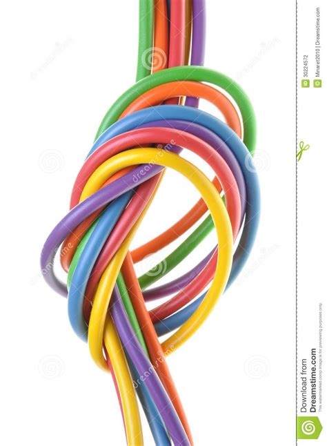 the electric colored wires with knot stock photography