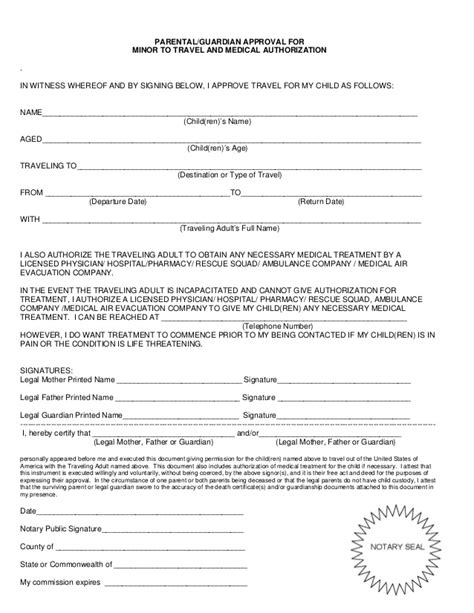 consent letter for child traveling with one parent minor consent letter