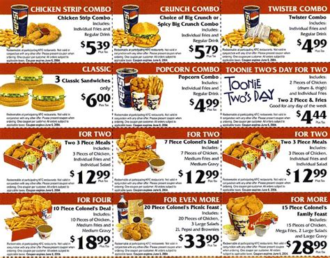 printable restaurant coupons louisville ky kentucky fried chicken menu and prices kfc menu with