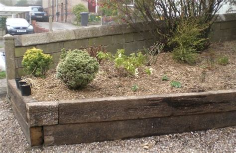 Sleeper Flower Beds by Sheffield Landscaper Gallery Patios Decking Ponds Fencing
