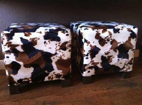 Faux Cowhide Ottoman Ottomans Cowhide Ottoman And Cubes On