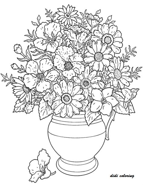 printable flowers in a vase printable vase filled with fresh flowers coloring page for