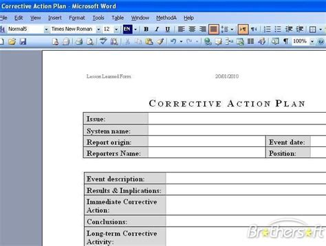 Corrective Action Plan Template Free Free Business Template Corrective Plan Template Word