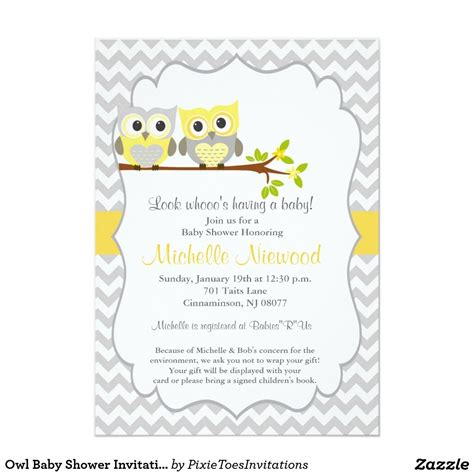 baby shower invitations owl baby shower invitation 5 quot x 7 quot invitation card