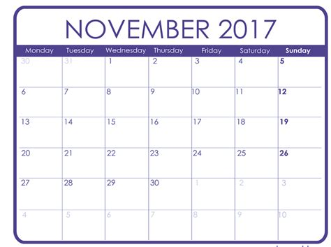 November 2017 Calendar Template Calendar Template Letter Format Printable Holidays Usa Uk Photo Calendar Template 2017