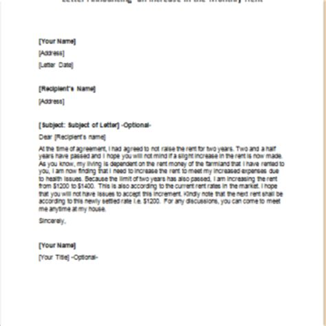Monthly Rent Increase Letter Formal Official And Professional Letter Templates Part 9