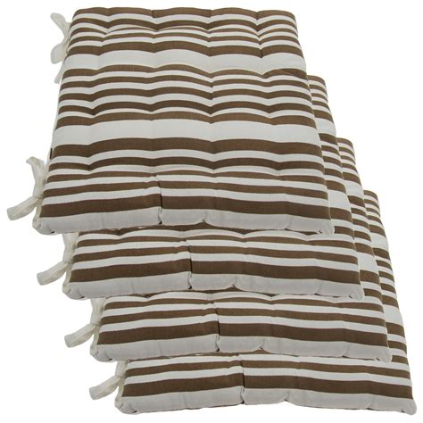 kitchen chair cushions with ties set of 4 cotton indoor reversible chair pads ties