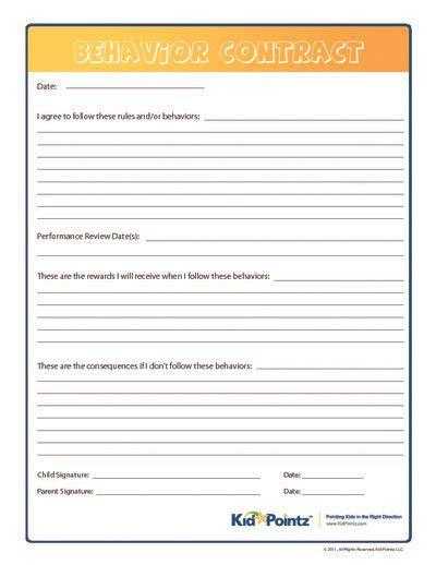 children s contract template behavior contract kid pointz