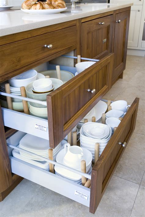 kitchen cabinet drawer design dish storage how to store dinnerware eatwell101