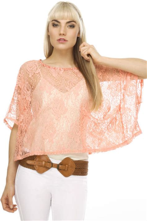 Flower Lace And Bottom Bell Set flower child coral lace top by lulusdotcom chictopia