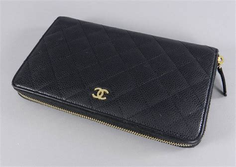 Chanel Zp chanel black caviar large zip wallet at 1stdibs