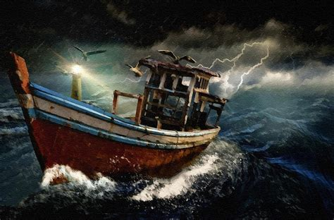 old omen boat r old fishing boat in a storm l b painting by gert j rheeders