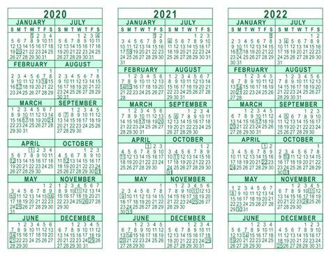 3 year calendar template 2020 2021 2022 3 year calendar