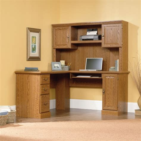 oak corner computer desk with hutch sauder orchard 60 in corner computer desk with