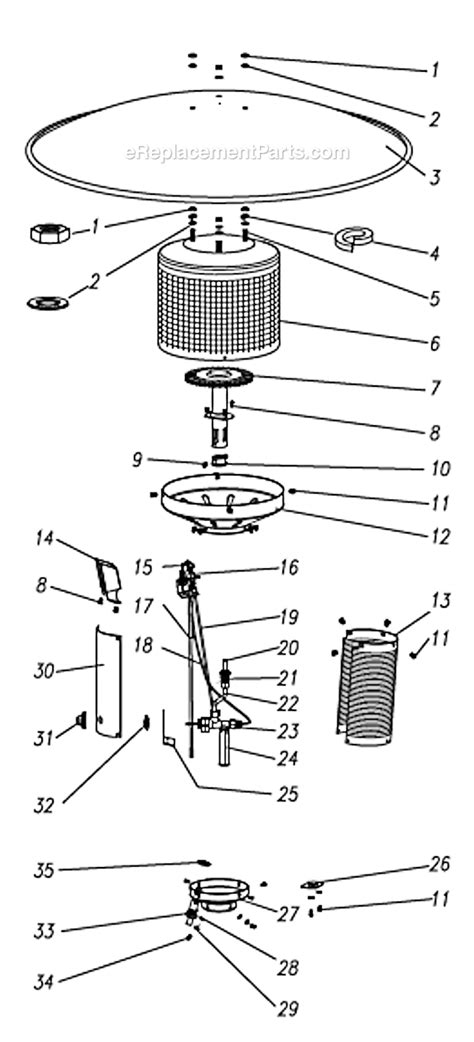 Patio Heater Repair Parts Patio Comfort Pc 02 Parts List And Diagram Ereplacementparts