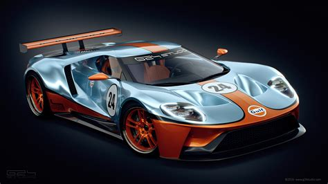 gulf automotive ford gt racer rendered with iconic gulf livery carscoops