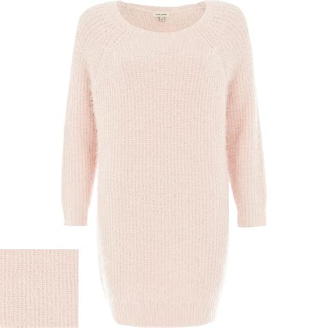river island knitted dress river island pink fluffy knitted dress in pink lyst