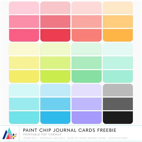 Paint Templates Printable by Free Printable Paint Chip Journal Cards Journal Cards