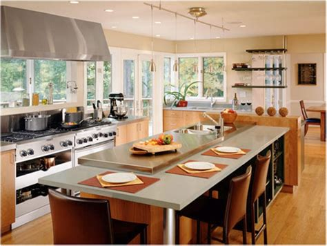 kitchen open contemporary design ideas with nice dining modern table and comfortable brown chairs for open kitchen