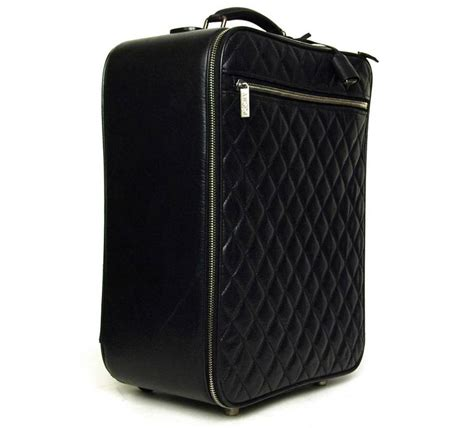 Quilted Rolling Luggage by Chanel 2007 Black Distressed Quilted Leather Rolling Suitcase Luggage Bag At 1stdibs
