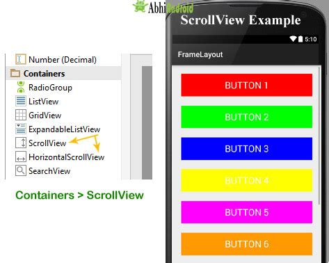 android layout xml scrollview scrollview and horizontal scrollview tutorial with exle