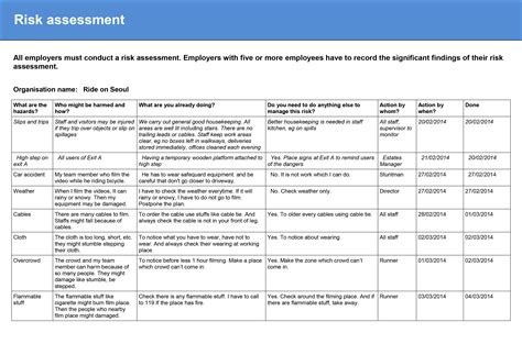exle of risk assessment report template 2 6 risk assessment report 2014 youn