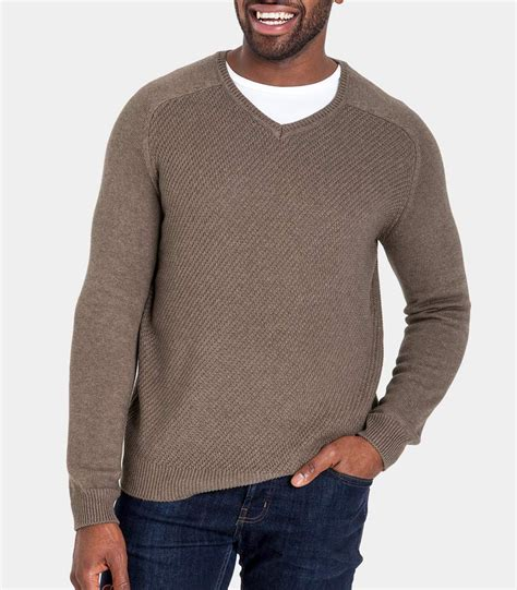 Sweater V Neck 30 brown marl 30 silk 70 cotton mens silk and cotton textured v neck sweater