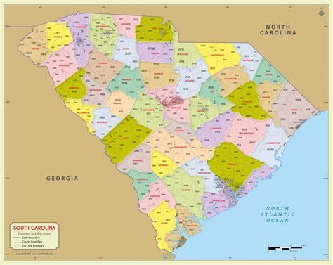 buy south carolina zip code map  counties