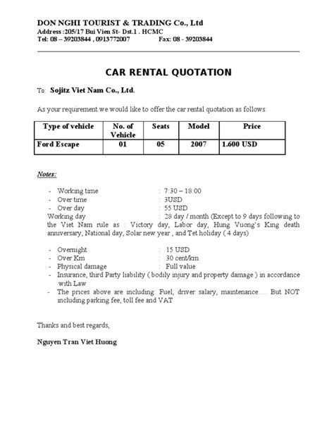 Rental Quotation Letter Car Rental Quotation Sojitz 14 9 2011 Docshare Tips