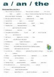 english worksheet a an the