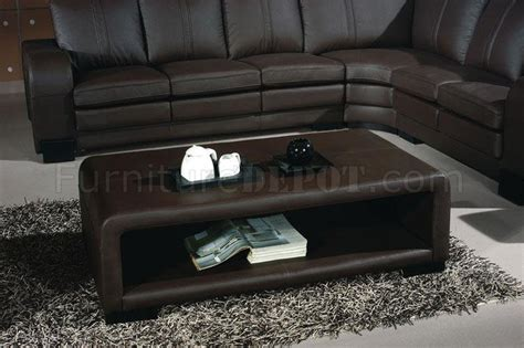 Coffee Tables For Sectional Sofas 3330 Espresso Leather Modern Sectional Sofa W Coffee Table