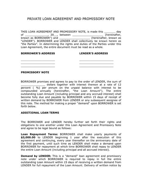 Private Loan Agreement Template Free Free Printable Documents Llc Member Loan Agreement Template