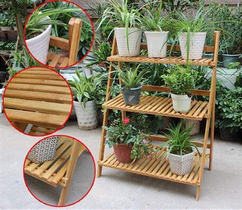 camadas de madeira de bambu vaso de flores