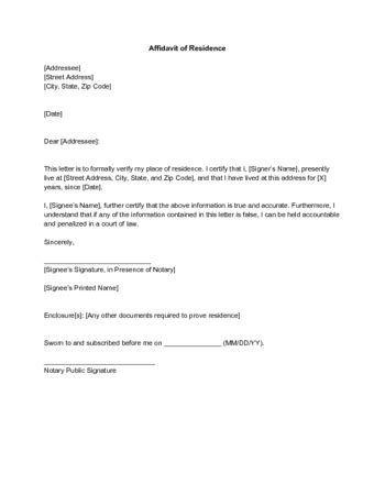 Residential Proof Letter Template how to write a letter for proof of residence with sle