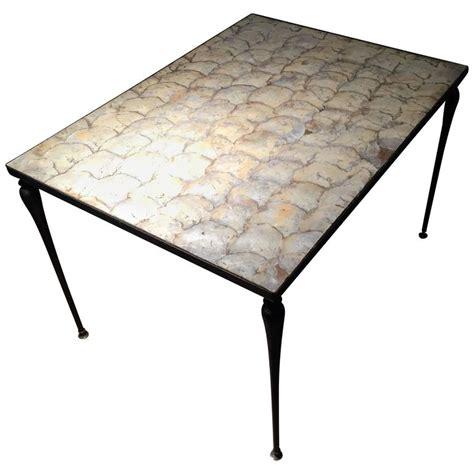 vintage designer iron and capiz shell coffee table