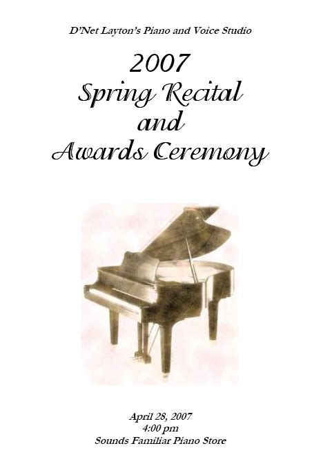 recital program templates layton music games and resources