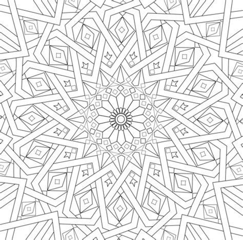 traditional islamic mosaic coloring page free printable