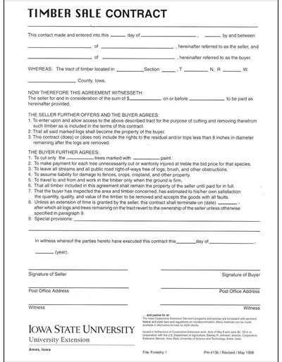 Sle Timber Sale Contract Template Timber Sale Contract