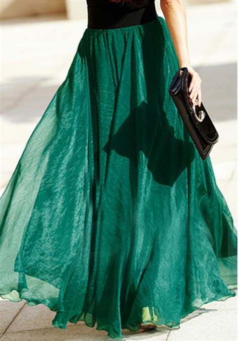 emerald green plain draped wavy edge bohemian chiffon