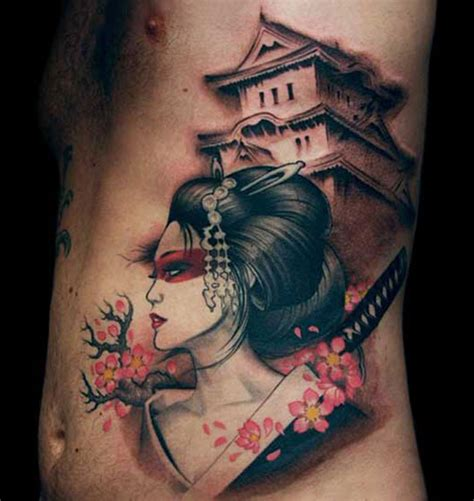 samurai tattoo with geisha geisha and samurai unique japanese tattoo designs tattoo