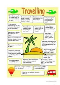 travelling speaking worksheet free esl printable