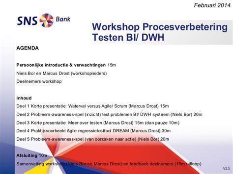 sns bank niederlande workshop bi dwh agile testing sns bank