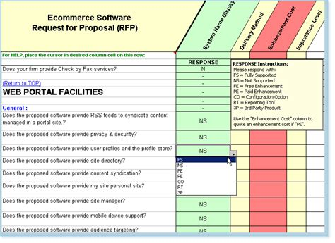 rfp scoring matrix template software evaluation selection ecommerce system gt gt 15