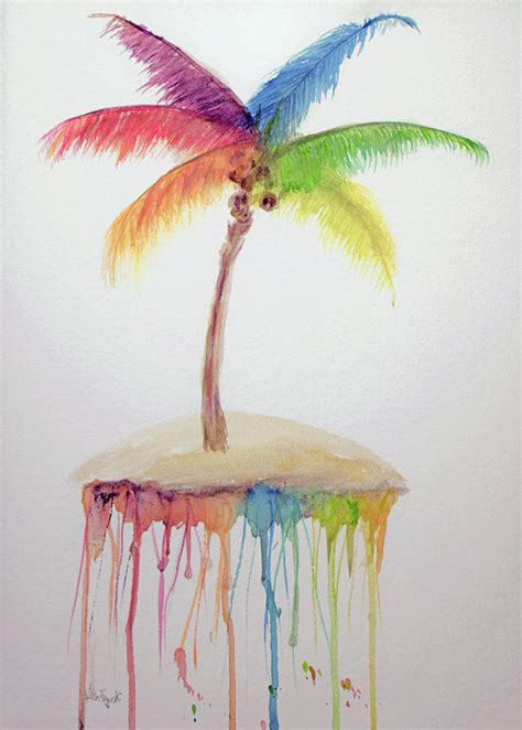 colorful palm trees colorful rainbow palm tree painting by ken figurski